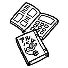 卒業アルバム白黒春卒業入学の無料イラストミニカットクリップ