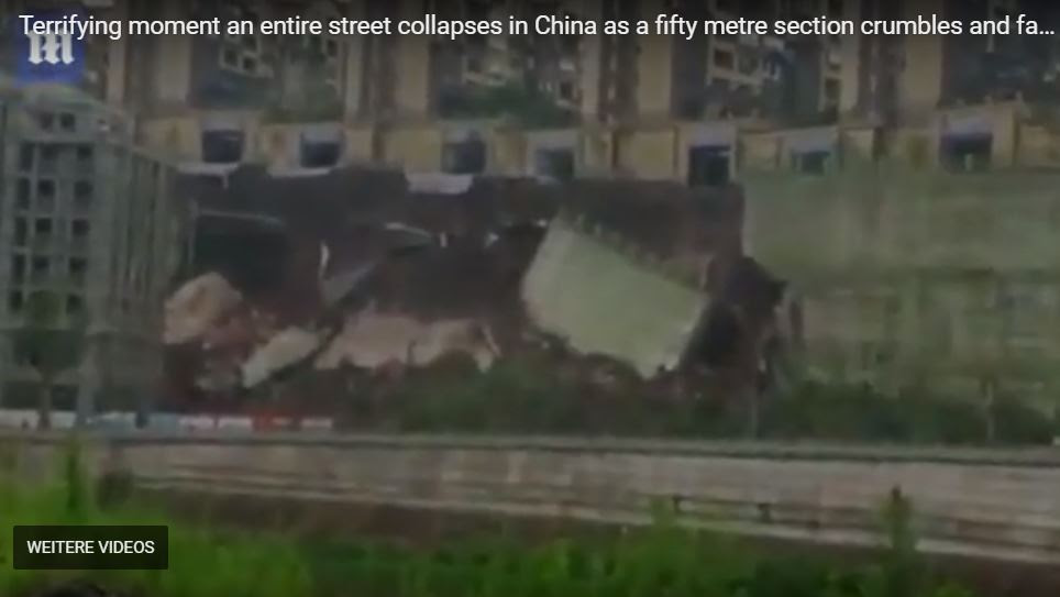 entire street collapses china, entire street collapses china video, entire street collapses china pictures