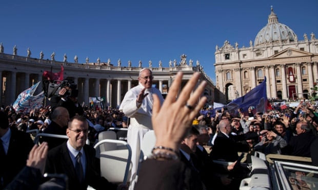 Pope Francis waves to crowds as he arrives on his popemobile for his inauguration Mass in St. Peter's Square at the Vatican, Tuesday, March 19, 2013. Pope Francis urged princes, presidents, sheiks and thousands of ordinary people gathered for his installation Mass on Tuesday to protect the environment, the weakest and the poorest, mapping out a clear focus of his priorities as leader of the world's 1.2 billion Catholics.
