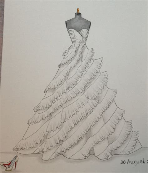 Custom wedding dress sketch wedding dress hand drawing say