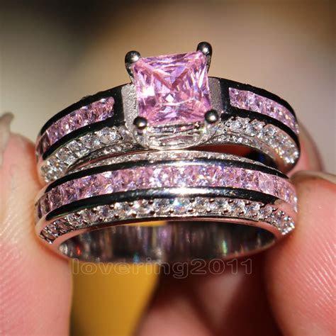 choucong Princess cut Pink stone 5A Zircon stone 10KT