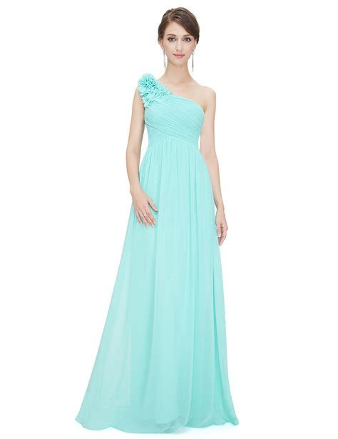 UK Cheap Long One shoulder Bridesmaid Party Dress Cocktail