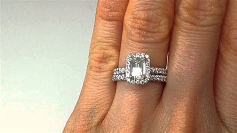 1.63 Emerald Cut Diamond Engagement Ring and Wedding Band