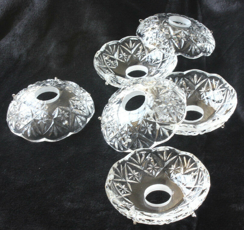 LOT OF 6 GLASS CANDLE VINTAGE CRYSTALS BOWL CHANDELIER ...