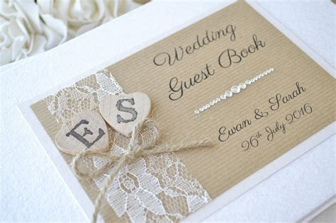 Personalised Wedding Guest Book ? Wooden Hearts & Lace