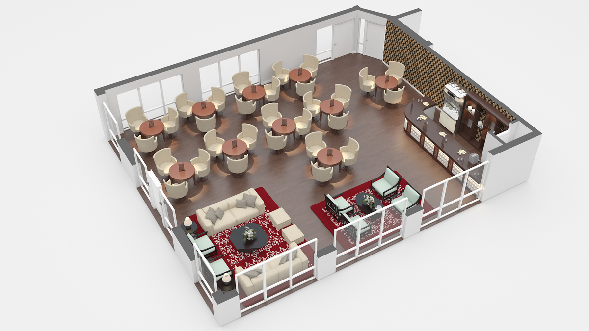 Coffee Shop Restaurant Floor Plan Design 3d រ បភ ពប ល ក Images