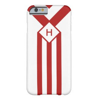 Red Stripes and Chevrons with Monogram on White Barely There iPhone 6 Case