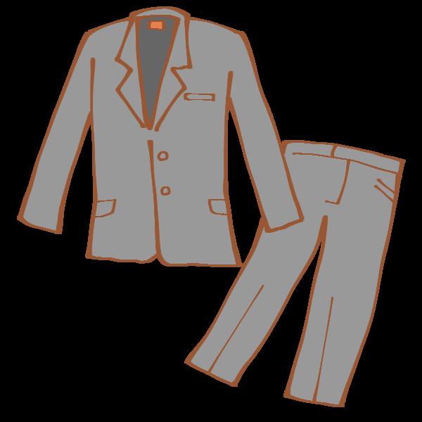 グレーのパンツスーツのイラスト かわいいフリー素材が無料のイラスト