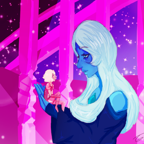 So I drew this based off the song After All that I keep seeing people using for white diamond and Pink diamond. I personally feel like it fits for BD and PD more since Blue Diamond is more of the...