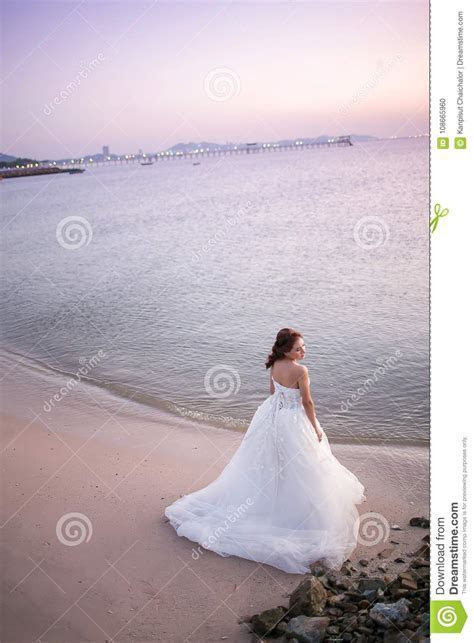 Attractive Young Bride Wear Wedding Dress And White Veil