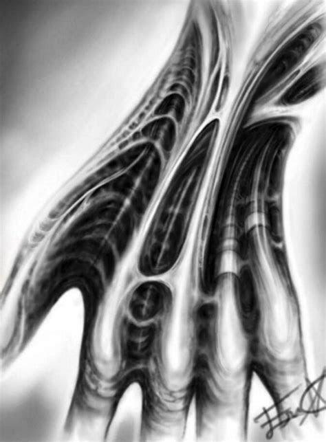 biomechanical digital hand drawing biomech art