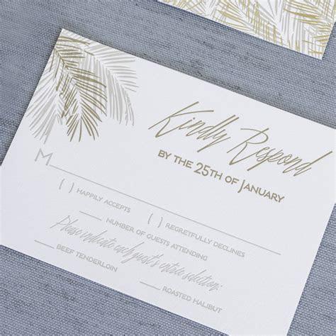 Tropical inspired palm leaf letterpress wedding invitations