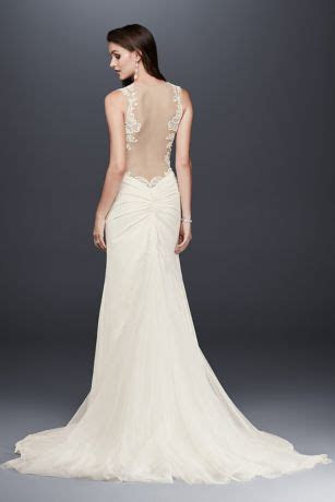 Beaded Lace Wedding Dress with Illusion Details   David's