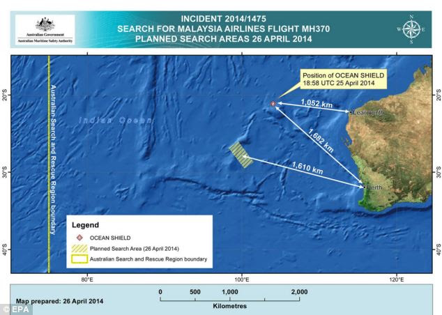 Are they looking in the right place? A map shows the planned search areas just west of Australia