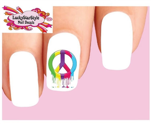 Colorful Peace Sign Dripping Waterslide Nail Decals