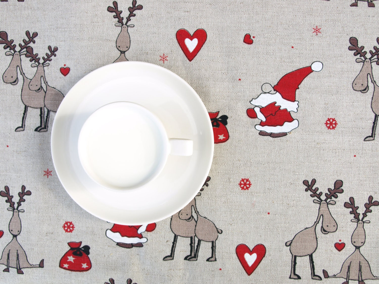 Christmas Linen tablecloth Rain deers Santa Claus Elf Tomten decor Natural Linen Eco Friendly, runner , towel , curtains available ,eco GIFT