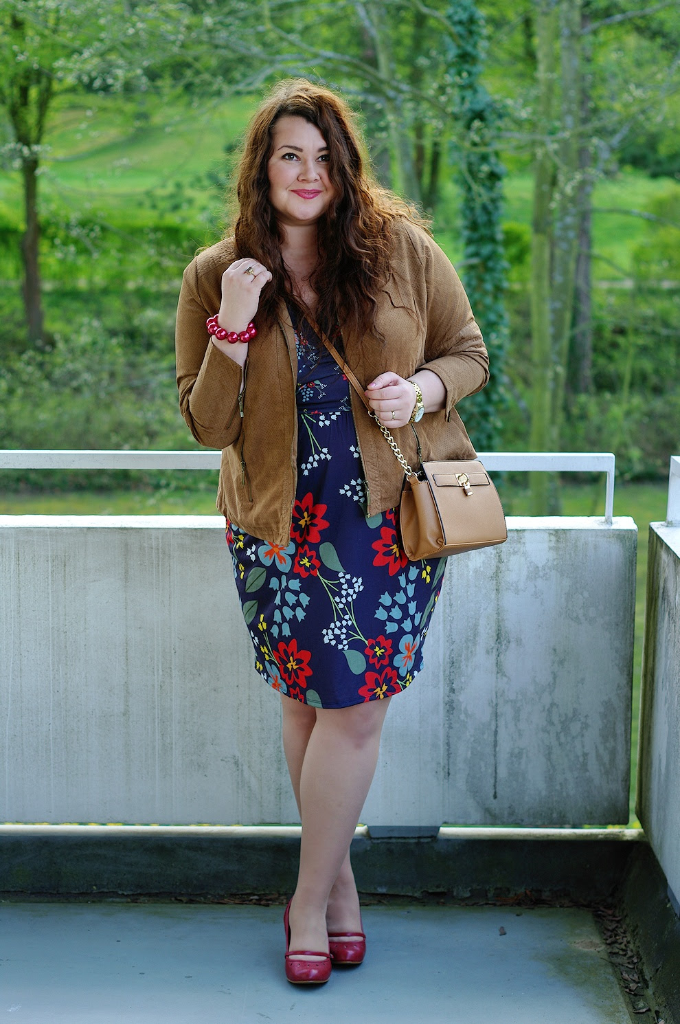 plus size german deutscher fashion blog asos curve floral dress kik textilien lederjacke