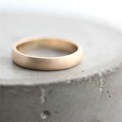 gold mens wedding band brushed mens  womens