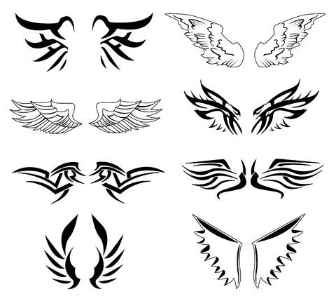 Black Wings Tattoos Designs