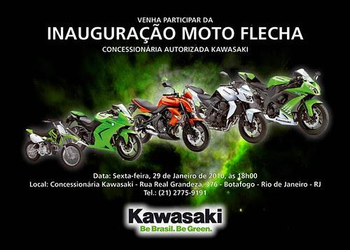 convite inauguracao concessionaria kawasaki moto flecha