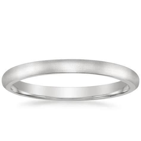 2mm Matte Comfort Fit Wedding Ring in 18K White Gold