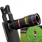 LIEQI スマートフォン用 8倍 望遠レンズ ケラレなし スマホで手軽に望遠撮影 iphone ipad Samsung Galaxy Androidスマホ タブレット対応 (レッド)