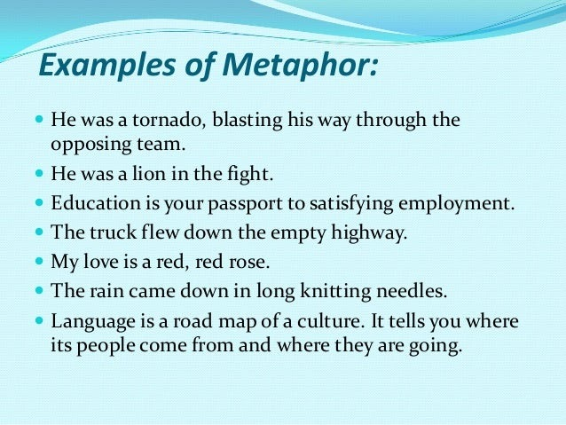 examples of metaphors