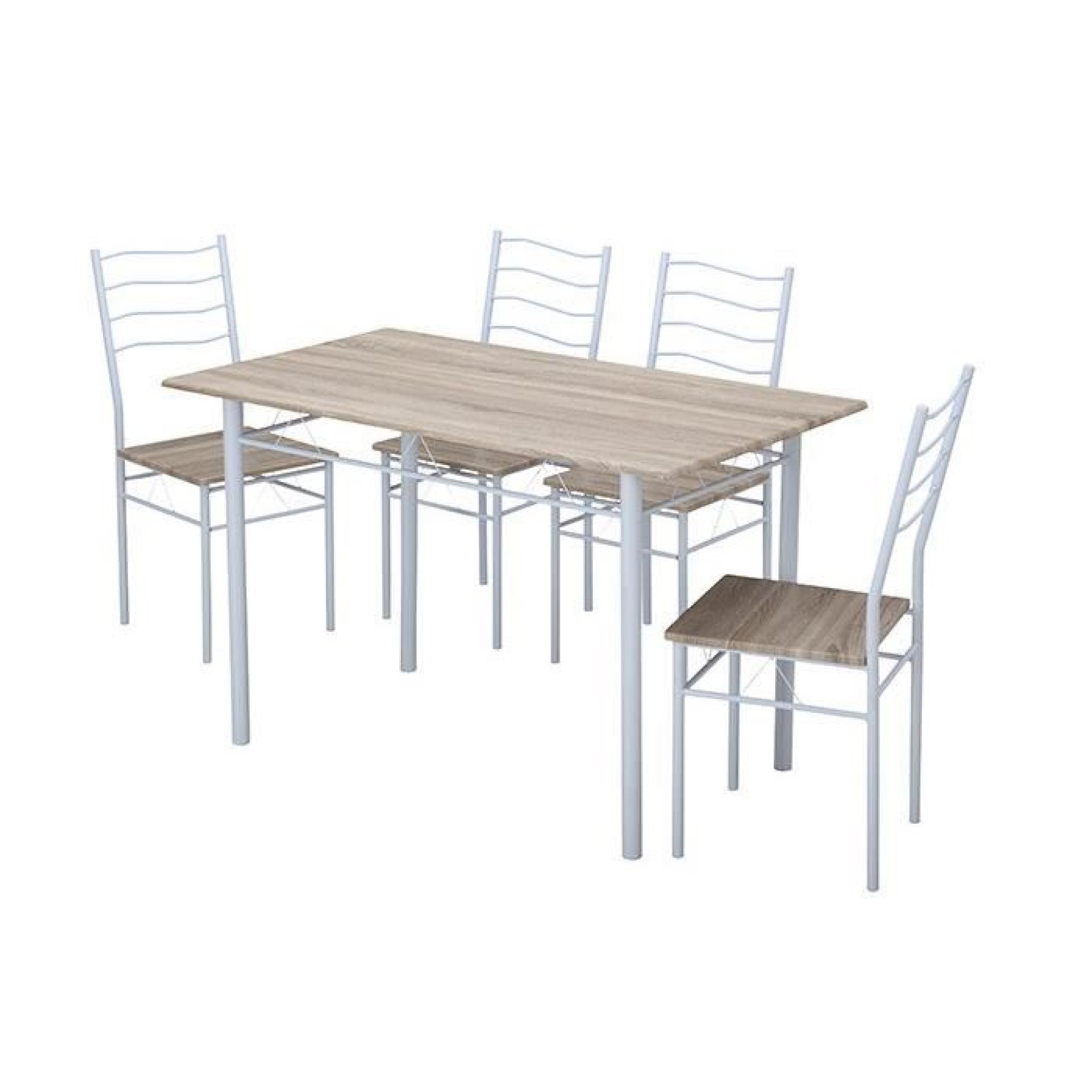 Nina Ensemble Table à Manger 120x70 Cm 4 Chaises Coloris Noir