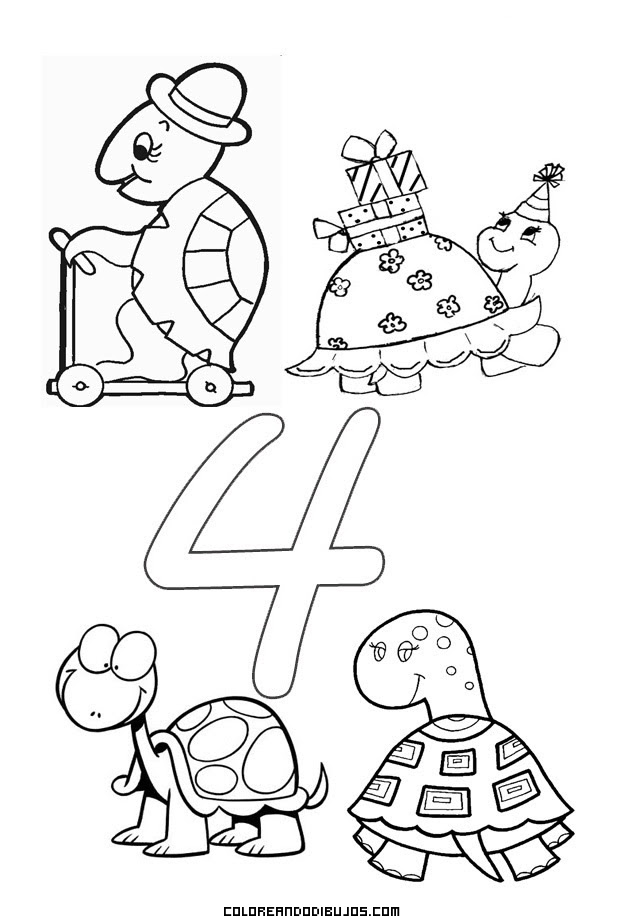Numero 4 Para Colorear