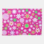 Pink Flower Power Kitchen Towel