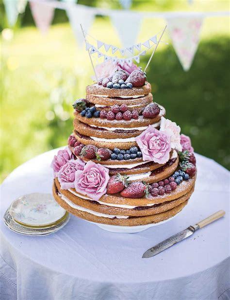 ?Naked? Victoria sponge wedding cake   Sainsbury's Magazine