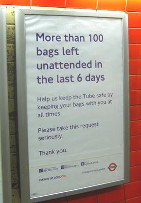 Unattended bag poster taken at Green Park