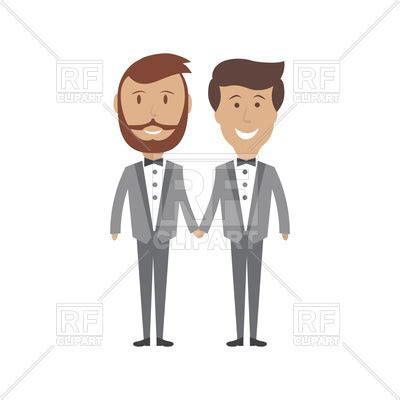Gay male couple wedding card Vector Image of People