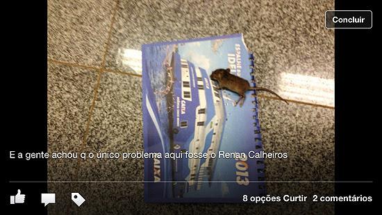 Imagem compartilhada por estagiárias do Senado em rede social com crítica a Renan Calheiros