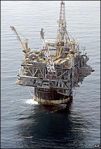 Una plataforma petrolera en el Golfo de México