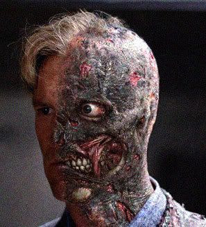 Aaron Eckhart as Harvey 'Two-Face'.