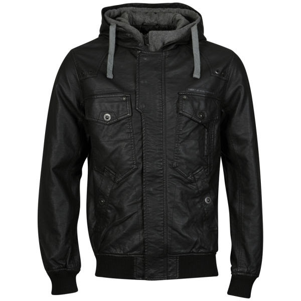 Brave Soul Men's Ed Bomber Jacket With Double Hood - Black: Image 01