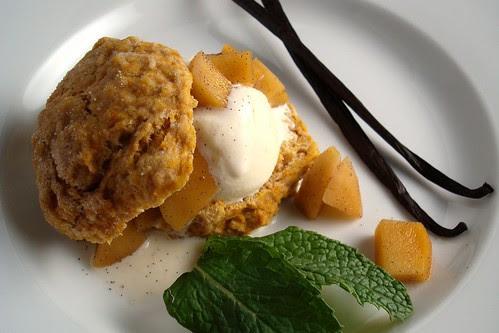 Pumpkin Shortcake with Apple Compote and Vanilla Honey Ice Cream