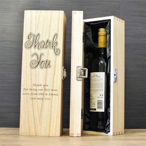 Personalised Wooden Wine Champagne Box   Thank You Gift