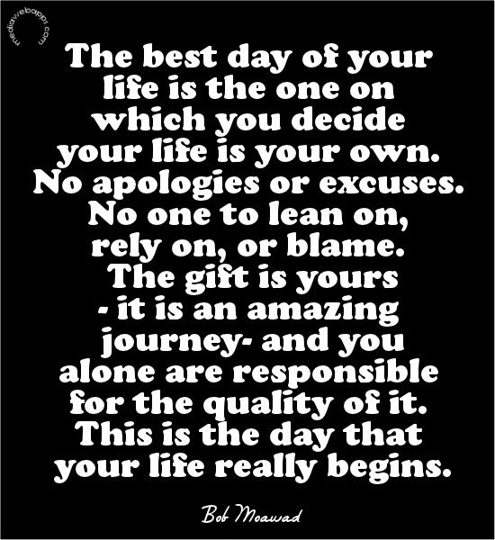The Best Day Of Your Life Is The One On Which You Decide Your Life