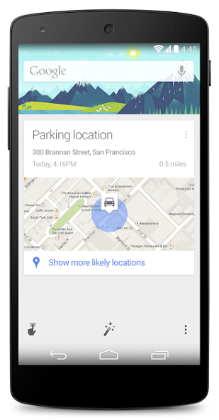 Forgot where you park your car? Don't worry, Google Now remembers.