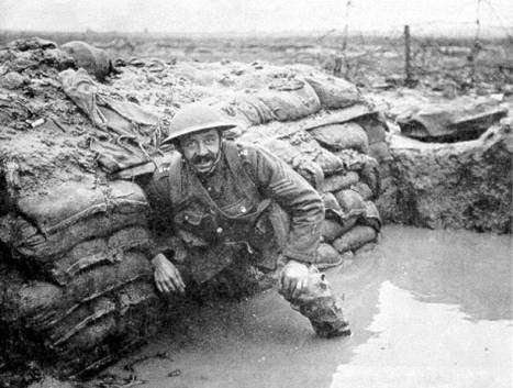 A flooded trench during World War One