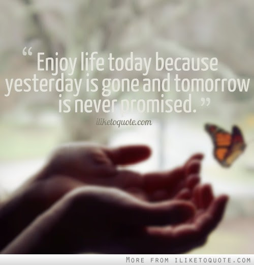 Enjoy Life Today Because Yesterday Is Gone And Tomorrow Is Never
