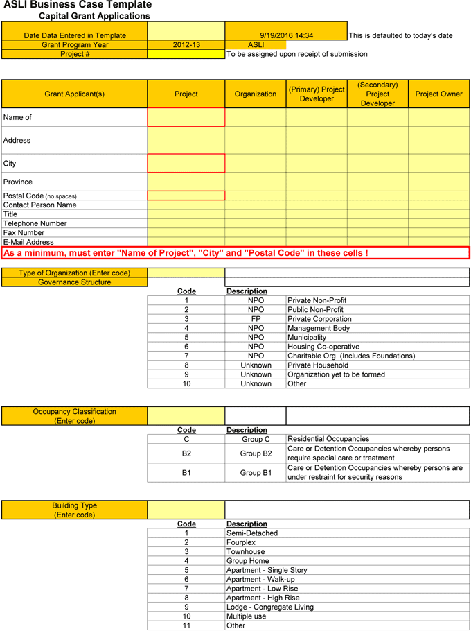 Business case template for Excel