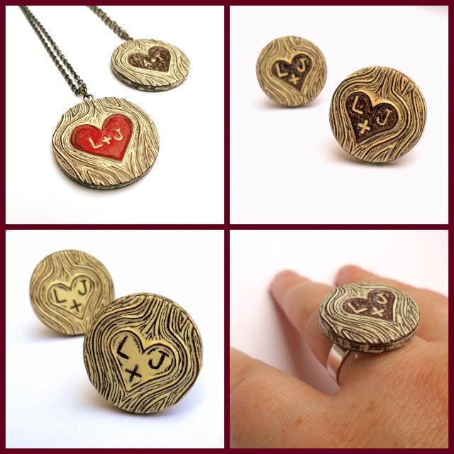 """20% OFF SALE use code """"EARLYBIRD2011"""" Personalized Woodgrain Red Heart Necklace  - Wood You Love Me"""