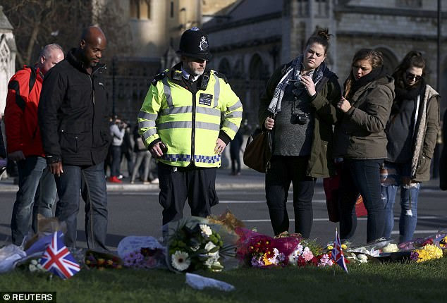An increased police presence has been seen in the area, with officers also stopping to observe the tributes and remember hero policeman Keith Palmer, who was fatally stabbed by Masood