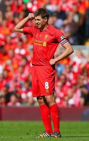 Hard to take: A Steven Gerrard howler gifted Chelsea the opening goal.
