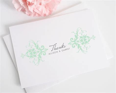 Elegant Damask Thank You Cards in Mint Green   Thank You