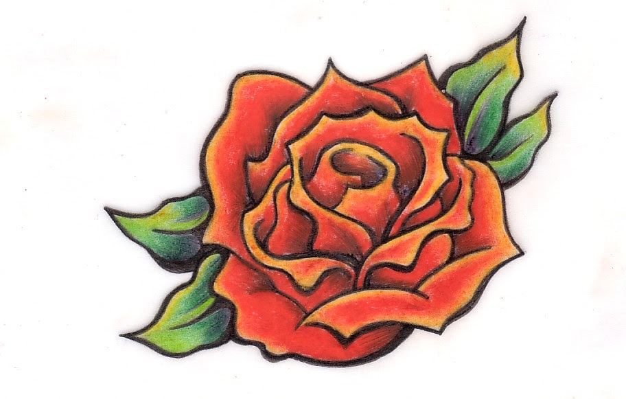 Nice Red Rose Tattoo Design