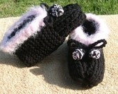 Ladies Pink and Black Hand-Knit Slippers